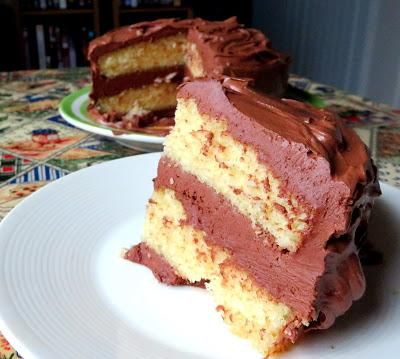 Golden Cake with Chocolate Frosting
