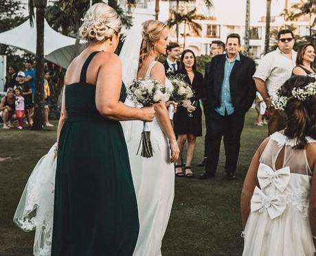 small wedding party wedding guests bride