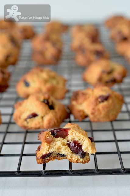 mini bite size less sugar honey cranberry cookies