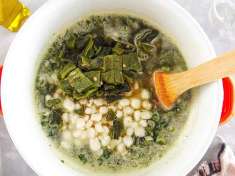 Vegetarian Black Bean Soup with Kale and Hominy