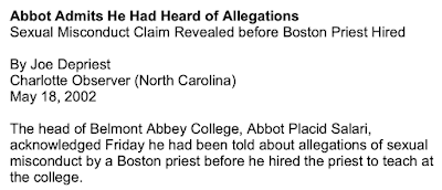 Diocese of Charlotte and Fr. George Berthold, Hired to Teach Theology at Belmont Abbey in 1997: A Case Study in Hierarchical Duplicity and Cover-Up