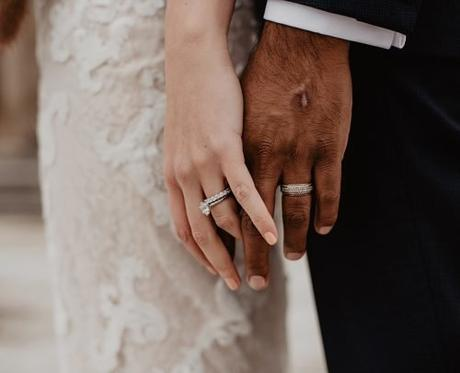 average price of wedding ring two persons wearing silver colored rings