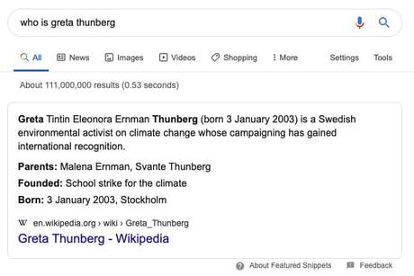 Example of Paragraph Text answer as Featured Snippet, Greta Thunberg