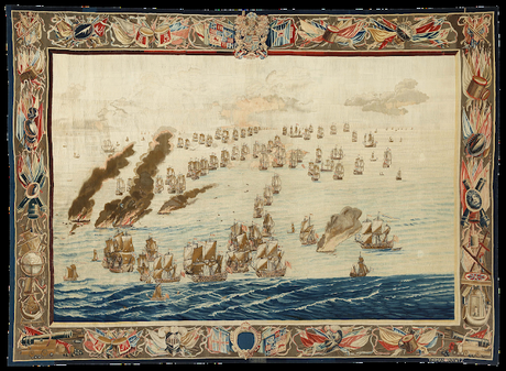 The Burning of the Royal James (Later in the Day), woven after a design by Willem van de Velde the Elder