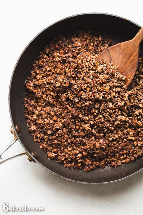 ThisVegan Taco Meat recipe is a game-changer! It's made with cauliflower, mushrooms, nuts, and spices. This vegan taco meat alternative is perfect as a vegan taco filling, over nachos, on a taco salad, or wrapped in a burrito.