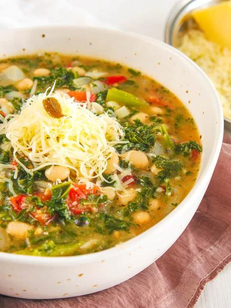 White Bean and Kale Soup with Parmesan Cheese