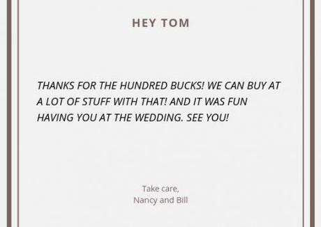 wedding thank you cards wording bad thank you note