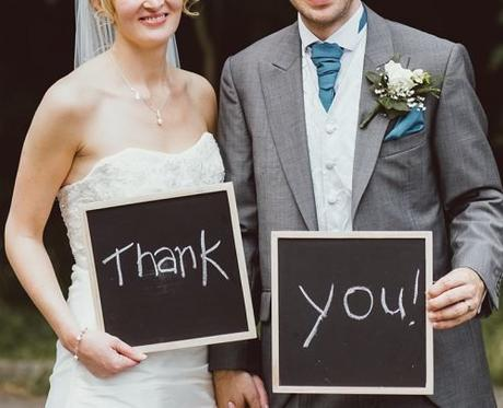 wedding thank you card wording bride and groom with sign