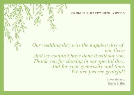 wedding thank you cards wording customized wedding thank you card