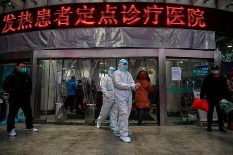 Medical staff in protective clothing at the Red Cross Hospital in Wuhan, central China, the epicenter of an outbreak of viral pneumonia.