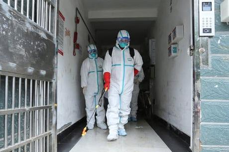 Health workers disinfected a residence in Ruichang, China, a city in Jiangxi Province. A coronavirus outbreak that has left more than 100 people dead began in the neighboring province of Hubei.