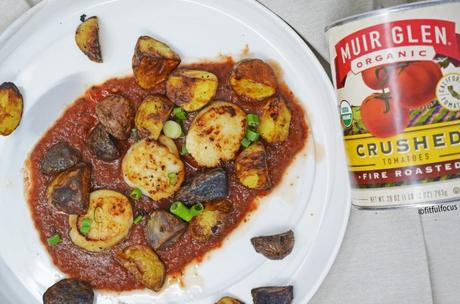 Seared Scallops and Crispy Potatoes with Spicy Marinara