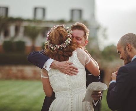 unique wedding readings bride and groom hugging