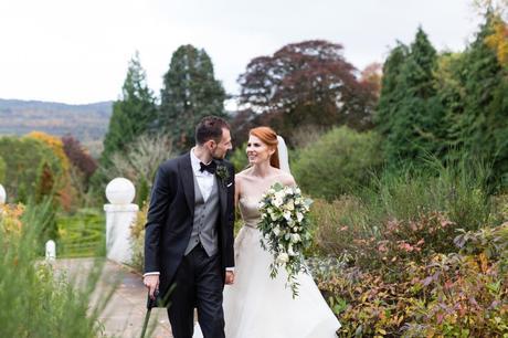 Achnagairn Estate wedding photography walking through the autumn gardens.