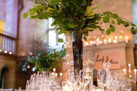 Candle lit autumn wedding decor at Achnagairn Estate wedding