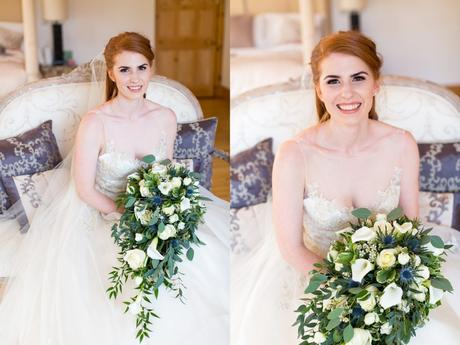 Portraits of beautiful, redheaded bride holding waterfall bouquet.
