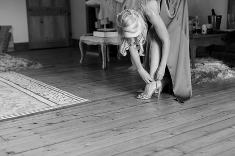 Bridesmaid buckles shoe at Achnagairn Estate wedding