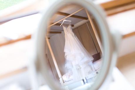 Reflection of wedding dress at Achnagairn Estate
