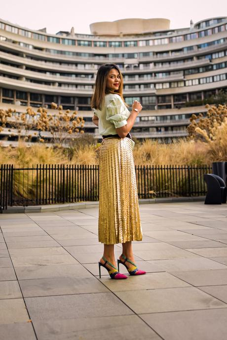 self love, how to be a kick ass mom, month of love, sequin skirt, mint green top, how to wear a sequin skirt, red lips fenty beauty, striped heels, myriad musings, saumya shiohare