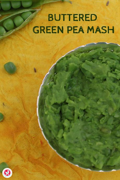Buttered Green Pea Mash is a protein, vitamin, calcium and fiber rich puree recipe, which is good for the overall growth and development of babies.