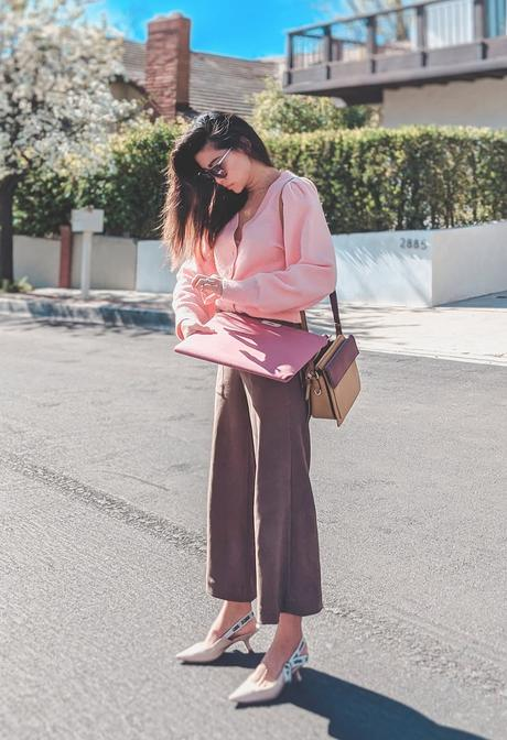 puff sleeve cardigan outfit idea