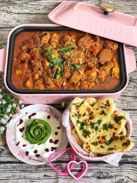 Chicken Biryani with heart shaped Naan