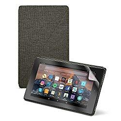 Image: Fire HD 8 Tablet (8inch HD Display, 16 GB) - Black + Amazon Fire HD 8 Tablet Case, Charcoal Black + NuPro Clear Screen Protector (2-Pack)