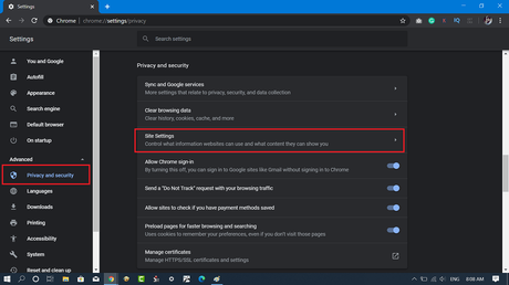 privacy and security settings chrome