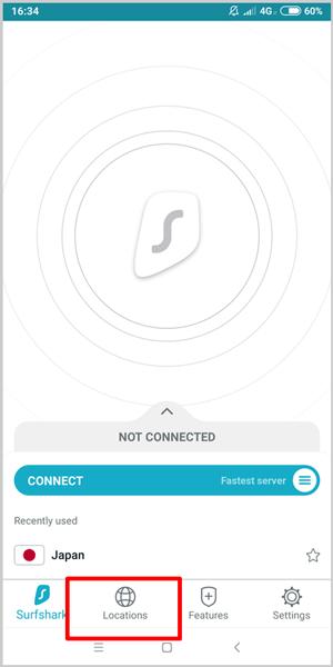 SurfShark VPN App Server Locations