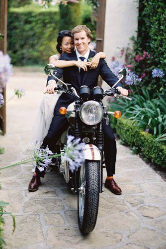 wedding exit photo ideas couole on bike Jose Villa Photography