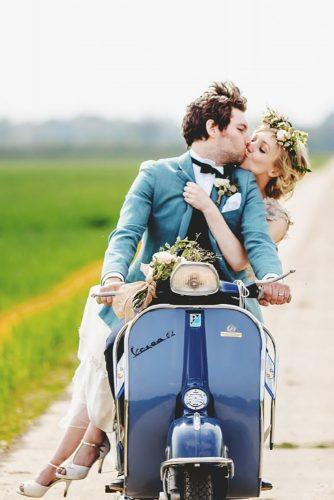 wedding exit photo ideas coach blue scooter couple kiss rossharvey