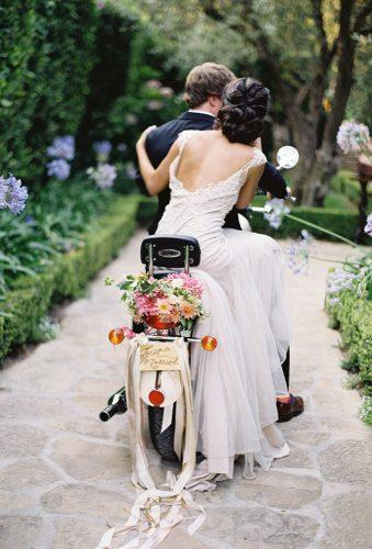 wedding exit photo ideas coach motorcycle with tapes Jose Villa Photography