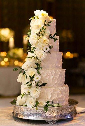 simple elegant chic wedding cakes cake with flower cascade Emilia Jane Photography