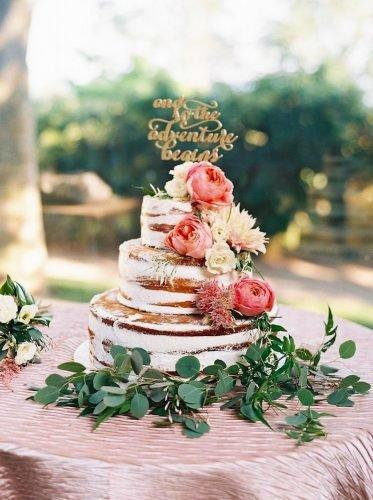 simple elegant chic wedding cakes naked floral cake Perry Vaile Photography