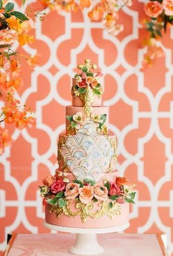 simple elegant chic wedding cakes floral blush cake purpletreephotography