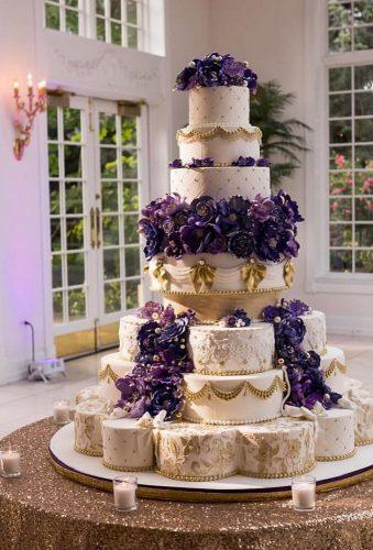 simple elegant chic wedding cakes big cake violet flowers delishcakes630