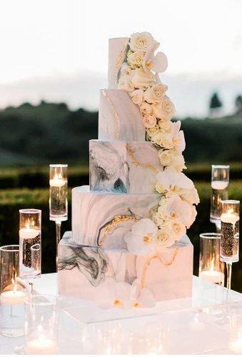 simple elegant chic wedding cakes marble cake flowersbycina