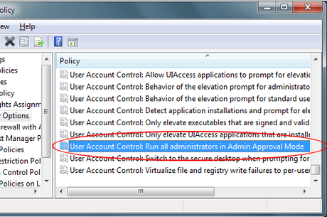 User Account Control Search: Run all administrators in Admin approval mode