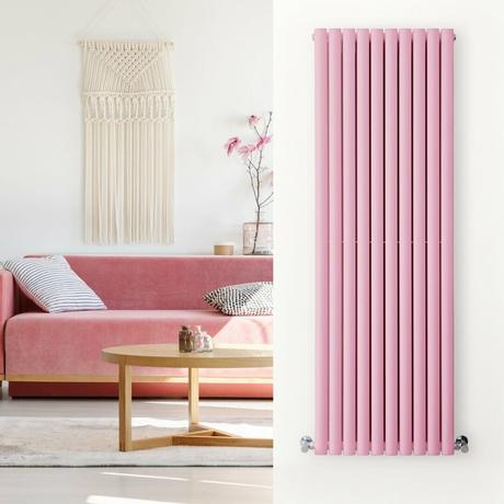 Pink radiator in a pink living room
