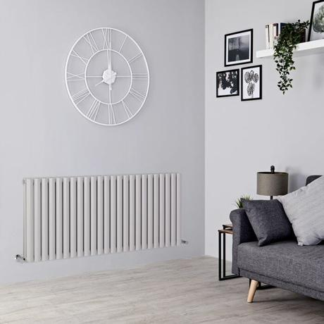 light gray radiator on a gray wall