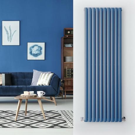 dark blue radiator in a blue living room