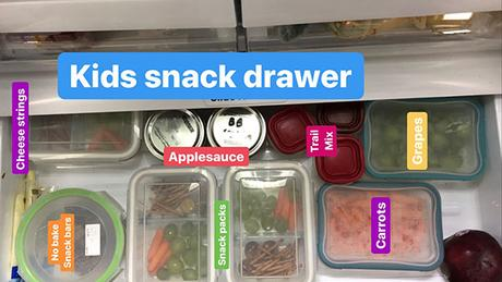 overhead view of the snack drawer