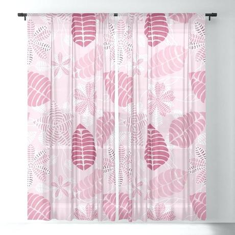 pretty pink curtains hot floral leaf pattern sheer curtain by
