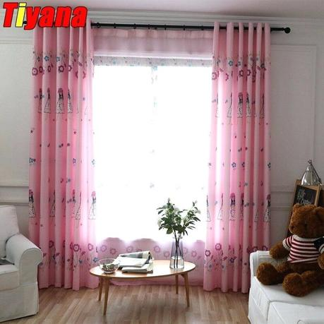 pretty pink curtains bedroom modern living room blackout curtain drape voile tulle for