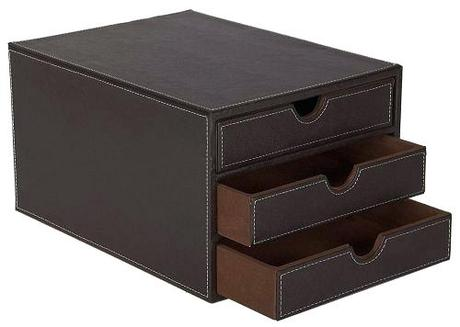 leather for desktop file organizer faux 3 drawer sorter brown