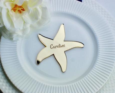 wedding place card ideas engraved starfish card
