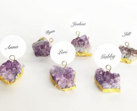 wedding place card ideas amethyst place cards holders