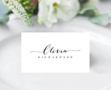 wedding place card ideas simple card with calligraphy
