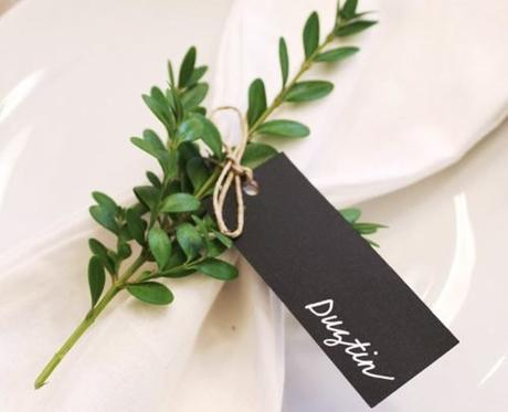 wedding place card ideas greenery tag