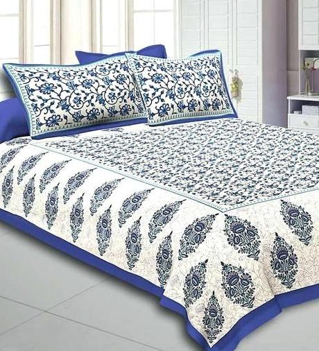 cotton bed linen sale uk blue border tropical design double sheet with 2 pillow covers by fabric